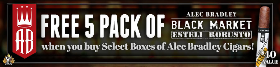 Get a FREE 5 Pack of Alec Bradley Black Market Esteli Robusto when you bet select boxes of Alec Bradley Cigars!