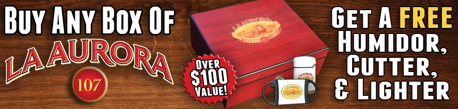 Buy Any Box Of La Aurora 107 Get a Free Humidor, Cutter, & Lighter