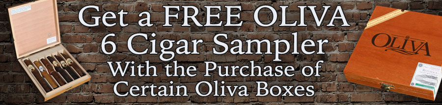 Get a Free Oliva 6 Cigar Sampler with the purchase of certain Oliva Boxes!